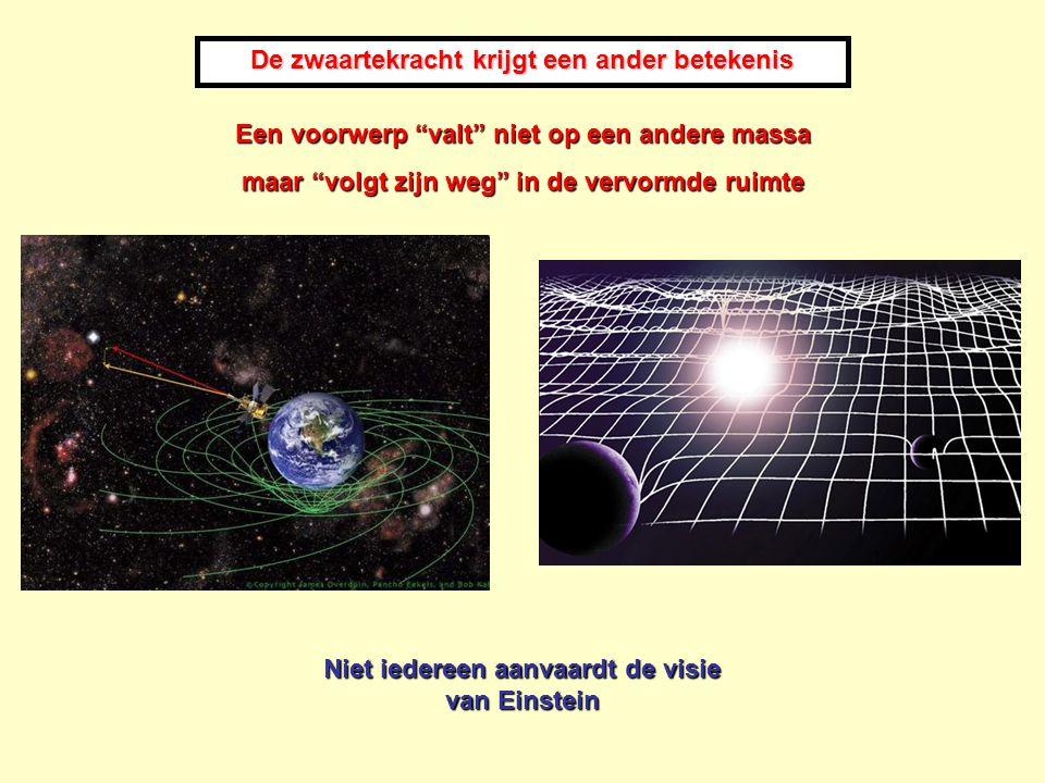 """Niet iedereen aanvaardt de visie van Einstein De zwaartekracht krijgt een ander betekenis Een voorwerp """"valt"""" niet op een andere massa maar """"volgt zij"""