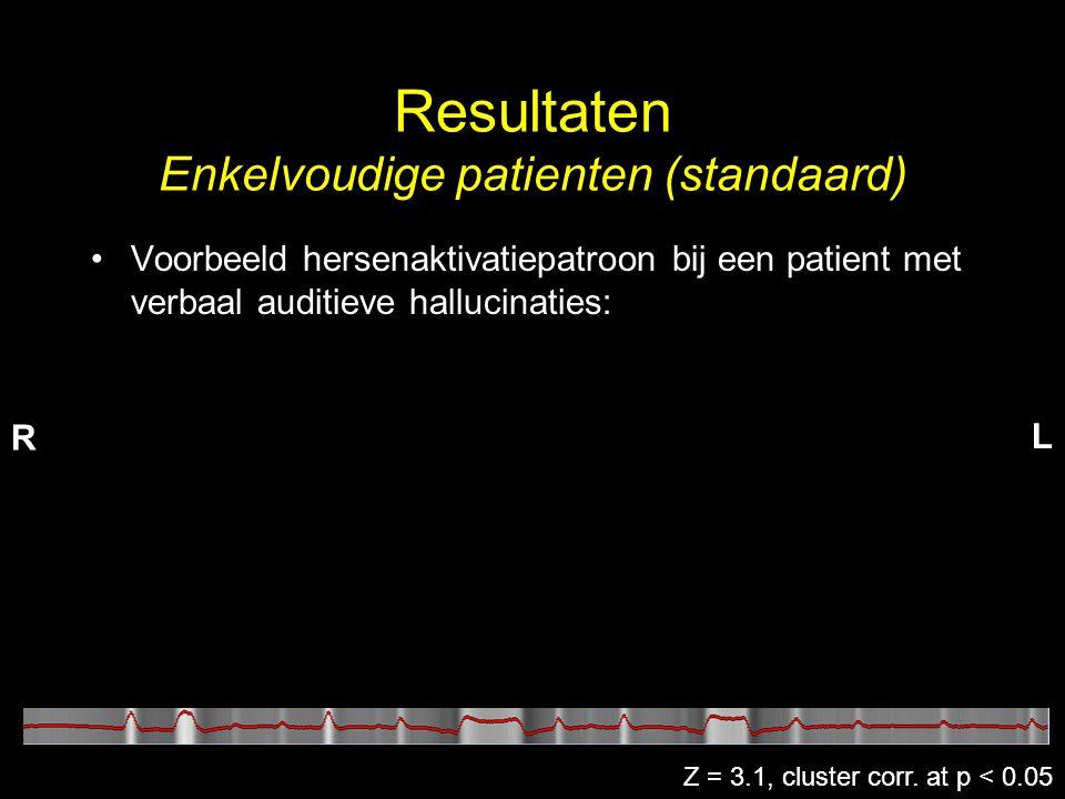 Resultaten Enkelvoudige patienten (standaard) Z = 3.1, cluster corr. at p < 0.05 •Voorbeeld hersenaktivatiepatroon bij een patient met verbaal auditie