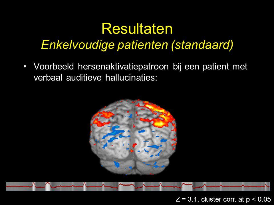 Resultaten Enkelvoudige patienten (standaard) Z = 3.1, cluster corr. at p < 0.05
