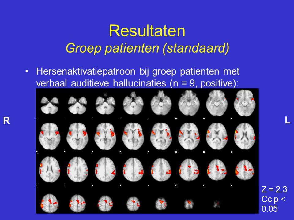 •Hersenaktivatiepatroon bij groep patienten met verbaal auditieve hallucinaties (n = 9, positive): Resultaten Groep patienten (standaard) Z = 2.3 Cc p