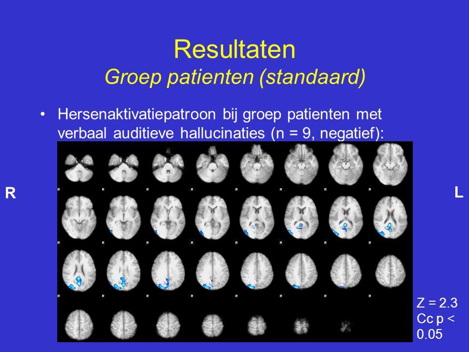 •Hersenaktivatiepatroon bij groep patienten met verbaal auditieve hallucinaties (n = 9, negatief): Resultaten Groep patienten (standaard) Z = 2.3 Cc p