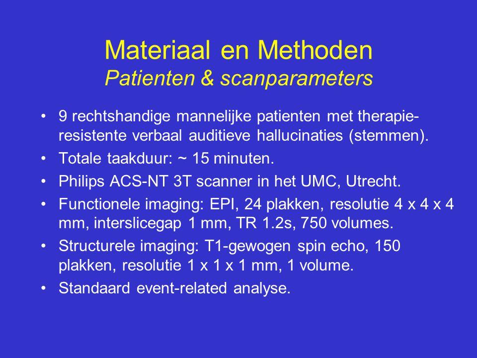 •9 rechtshandige mannelijke patienten met therapie- resistente verbaal auditieve hallucinaties (stemmen). •Totale taakduur: ~ 15 minuten. •Philips ACS