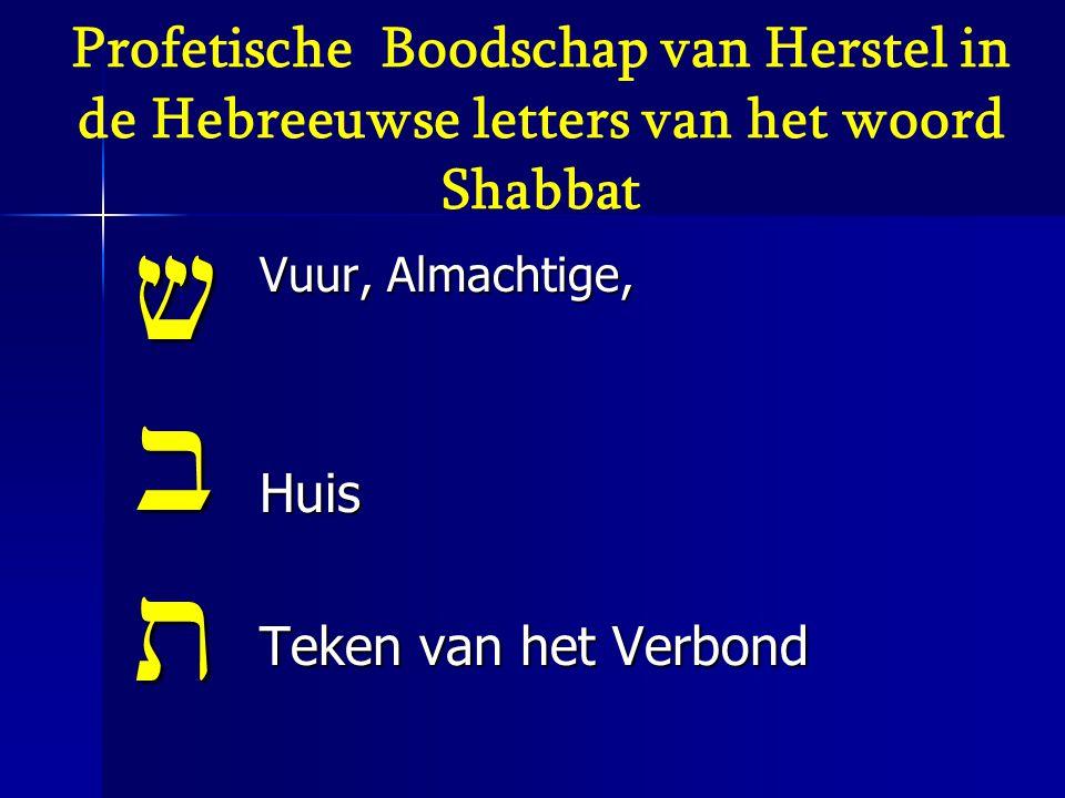 Profetische Boodschap van Herstel in de Hebreeuwse letters van het woord Shabbat vbt Vuur, Almachtige, Huis Teken van het Verbond