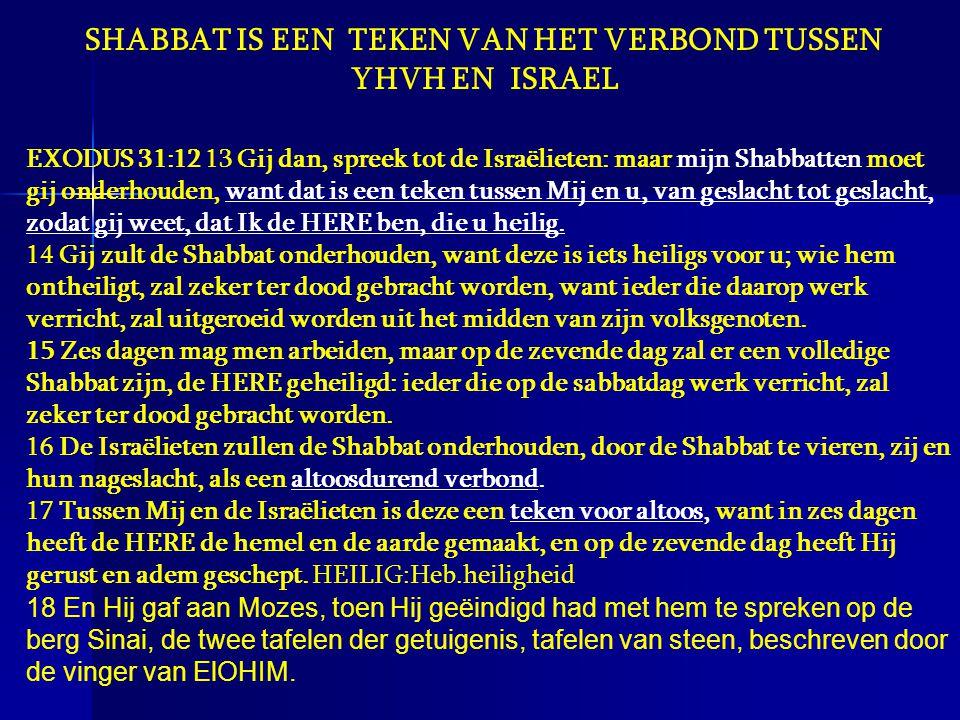 SHABBAT IS EEN TEKEN VAN HET VERBOND TUSSEN YHVH EN ISRAEL EXODUS 31:12 13 Gij dan, spreek tot de Israëlieten: maar mijn Shabbatten moet gij onderhoud