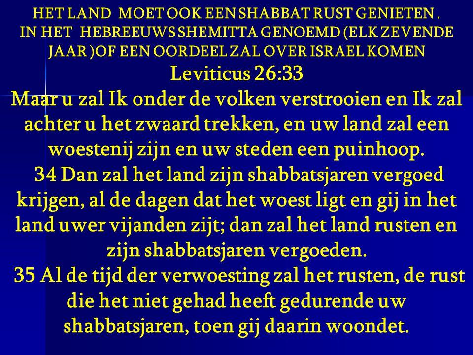 HET LAND MOET OOK EEN SHABBAT RUST GENIETEN. IN HET HEBREEUWS SHEMITTA GENOEMD (ELK ZEVENDE JAAR )OF EEN OORDEEL ZAL OVER ISRAEL KOMEN Leviticus 26:33
