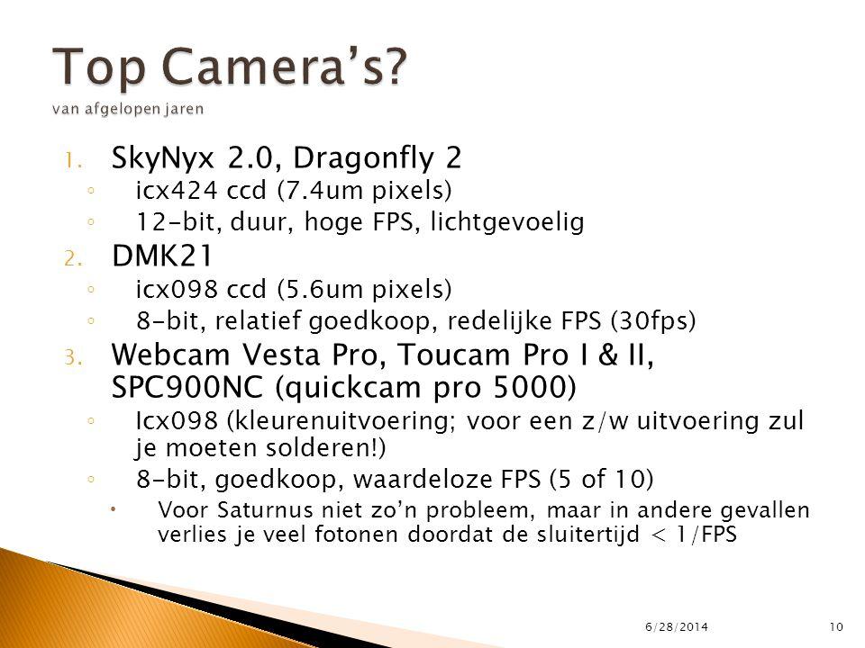 1. SkyNyx 2.0, Dragonfly 2 ◦ icx424 ccd (7.4um pixels) ◦ 12-bit, duur, hoge FPS, lichtgevoelig 2. DMK21 ◦ icx098 ccd (5.6um pixels) ◦ 8-bit, relatief