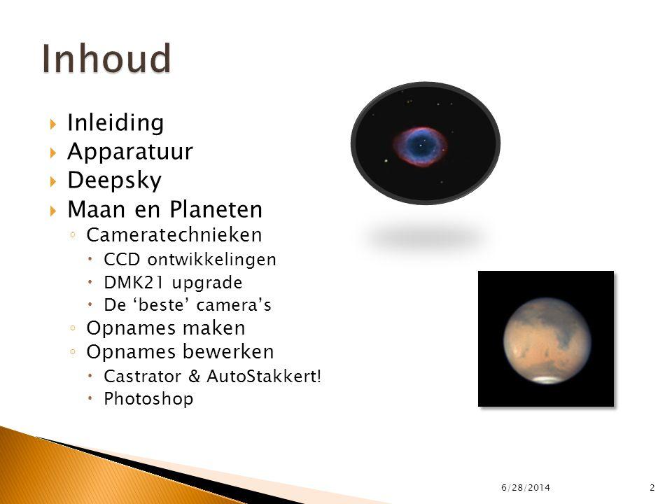  Inleiding  Apparatuur  Deepsky  Maan en Planeten ◦ Cameratechnieken  CCD ontwikkelingen  DMK21 upgrade  De 'beste' camera's ◦ Opnames maken ◦