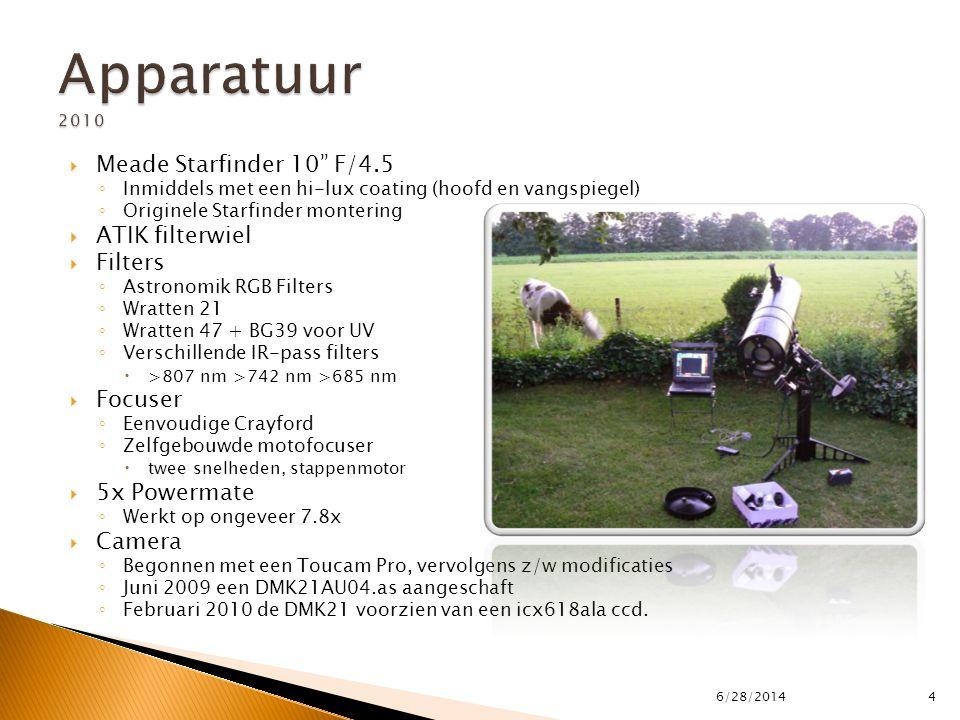""" Meade Starfinder 10"""" F/4.5 ◦ Inmiddels met een hi-lux coating (hoofd en vangspiegel) ◦ Originele Starfinder montering  ATIK filterwiel  Filters ◦"""