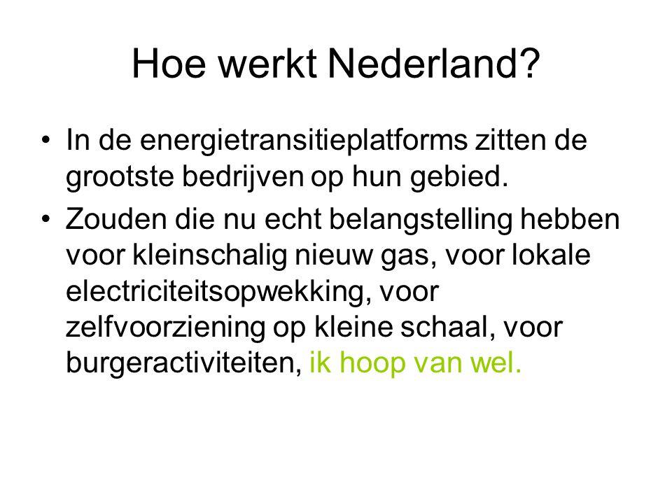 Hoe werkt Nederland. •In de energietransitieplatforms zitten de grootste bedrijven op hun gebied.
