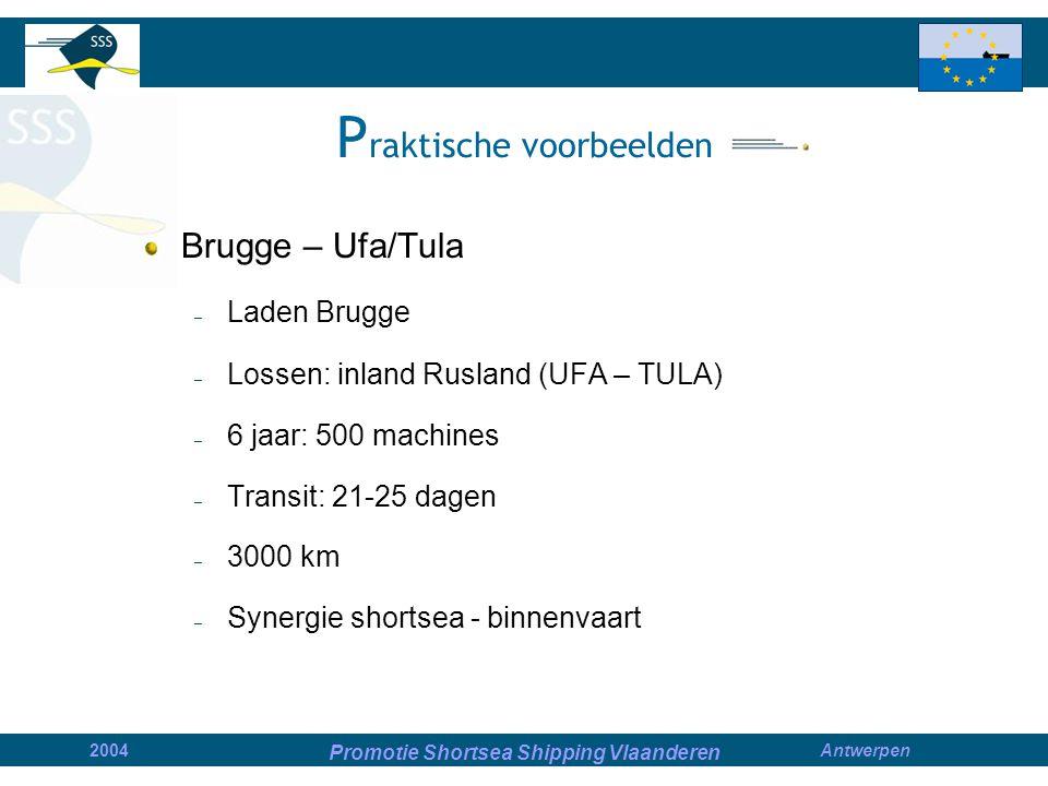 Promotie Shortsea Shipping Vlaanderen 2004Antwerpen P raktische voorbeelden Brugge – Ufa/Tula – Laden Brugge – Lossen: inland Rusland (UFA – TULA) – 6 jaar: 500 machines – Transit: 21-25 dagen – 3000 km – Synergie shortsea - binnenvaart