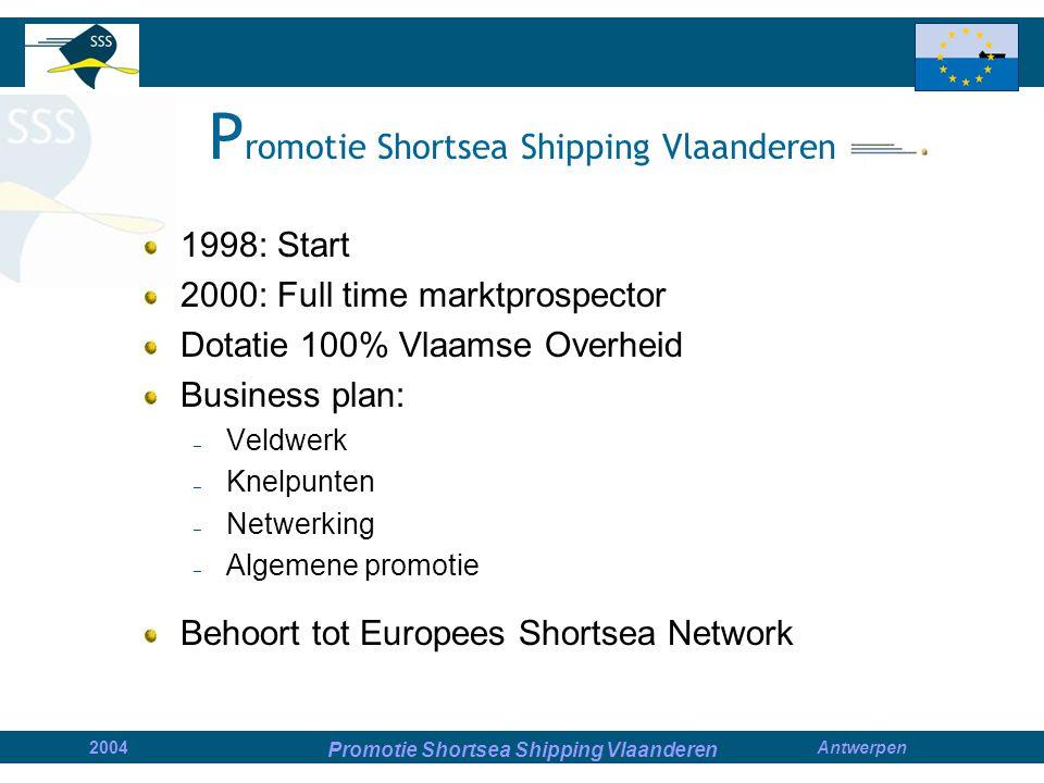 Promotie Shortsea Shipping Vlaanderen 2004Antwerpen P romotie Shortsea Shipping Vlaanderen 1998: Start 2000: Full time marktprospector Dotatie 100% Vlaamse Overheid Business plan: – Veldwerk – Knelpunten – Netwerking – Algemene promotie Behoort tot Europees Shortsea Network
