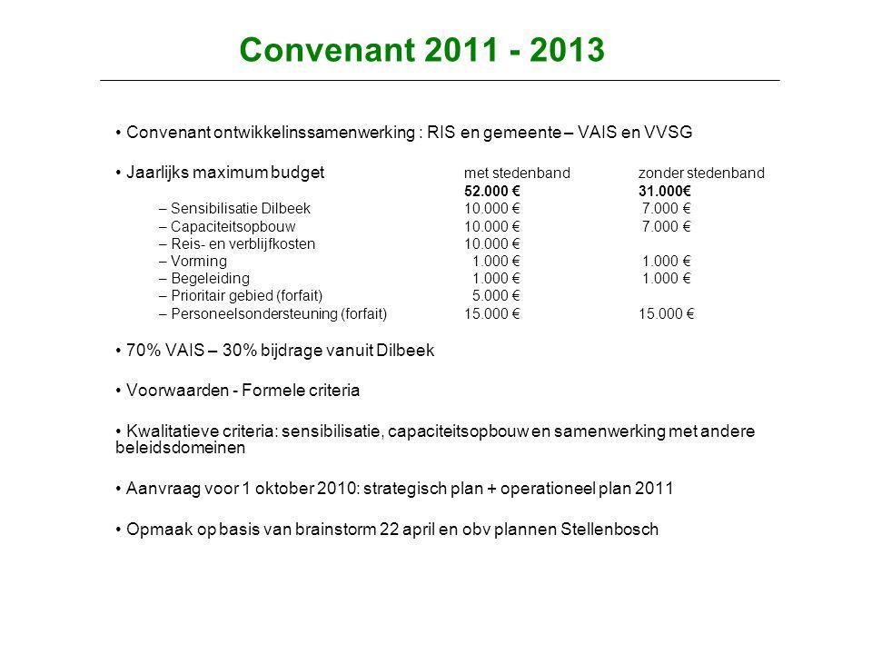 Convenant 2011 - 2013 • Convenant ontwikkelinssamenwerking : RIS en gemeente – VAIS en VVSG • Jaarlijks maximum budget met stedenbandzonder stedenband 52.000 €31.000€ – Sensibilisatie Dilbeek 10.000 € 7.000 € – Capaciteitsopbouw 10.000 € 7.000 € – Reis- en verblijfkosten10.000 € – Vorming 1.000 € 1.000 € – Begeleiding 1.000 € 1.000 € – Prioritair gebied (forfait) 5.000 € – Personeelsondersteuning (forfait)15.000 €15.000 € • 70% VAIS – 30% bijdrage vanuit Dilbeek • Voorwaarden - Formele criteria • Kwalitatieve criteria: sensibilisatie, capaciteitsopbouw en samenwerking met andere beleidsdomeinen • Aanvraag voor 1 oktober 2010: strategisch plan + operationeel plan 2011 • Opmaak op basis van brainstorm 22 april en obv plannen Stellenbosch