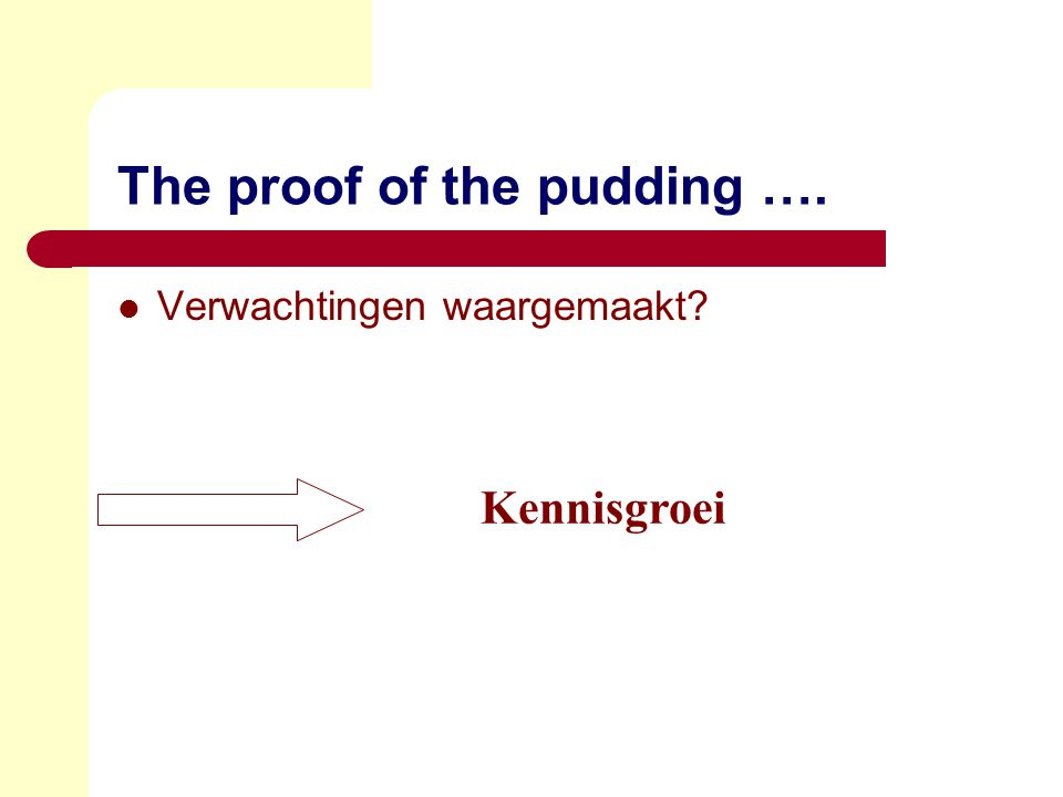The proof of the pudding ….  Verwachtingen waargemaakt? Kennisgroei