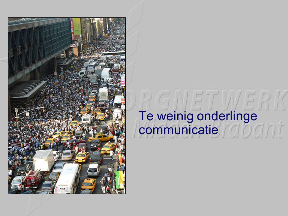 Te weinig onderlinge communicatie