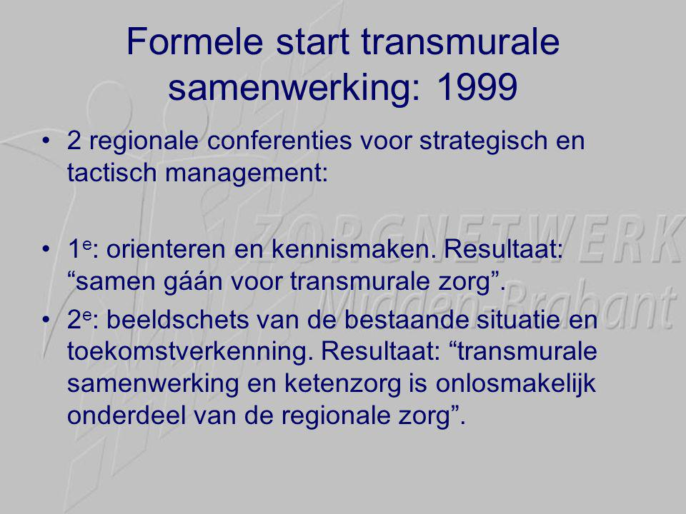 Formele start transmurale samenwerking: 1999 •2 regionale conferenties voor strategisch en tactisch management: •1 e : orienteren en kennismaken. Resu