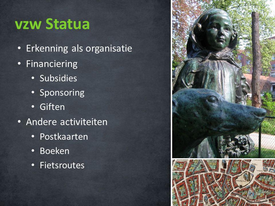 vzw Statua • Erkenning als organisatie • Financiering • Subsidies • Sponsoring • Giften • Andere activiteiten • Postkaarten • Boeken • Fietsroutes