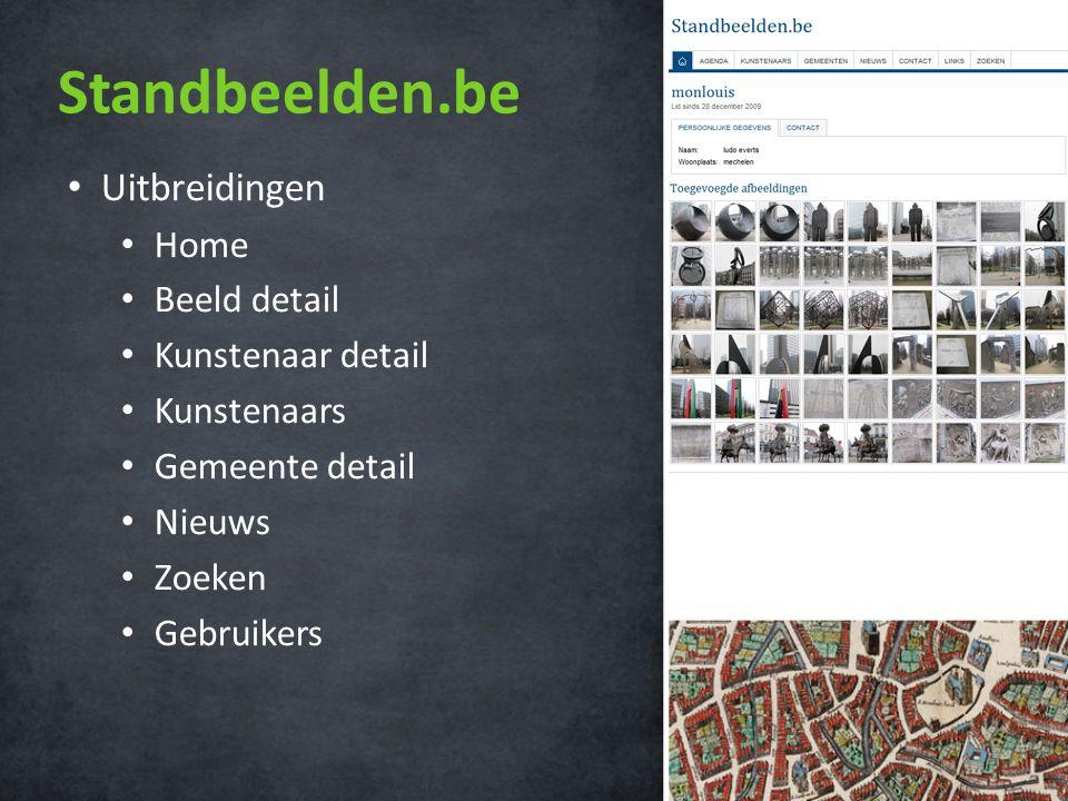 Standbeelden.be • Uitbreidingen • Home • Beeld detail • Kunstenaar detail • Kunstenaars • Gemeente detail • Nieuws • Zoeken • Gebruikers