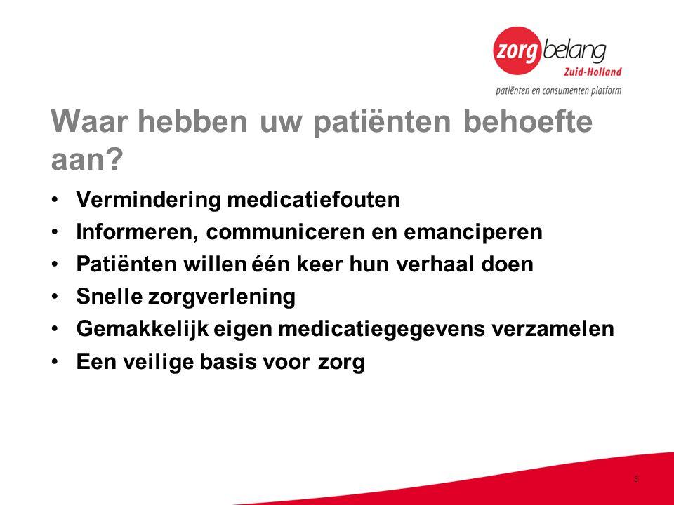 3 Waar hebben uw patiënten behoefte aan.