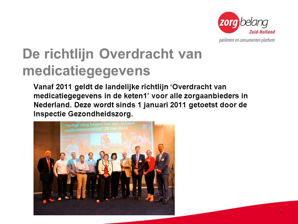 5 De richtlijn Overdracht van medicatiegegevens Vanaf 2011 geldt de landelijke richtlijn 'Overdracht van medicatiegegevens in de keten1' voor alle zorgaanbieders in Nederland.