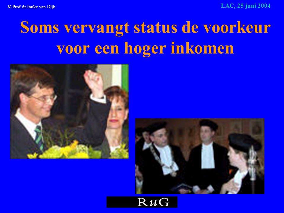 © Prof.dr Jouke van Dijk LAC, 25 juni 2004 Geld speelt geen rol!
