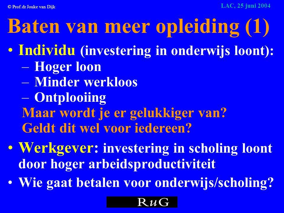 © Prof.dr Jouke van Dijk LAC, 25 juni 2004 • De afgestudeerden • De werkgevers • De maatschappij • De regio