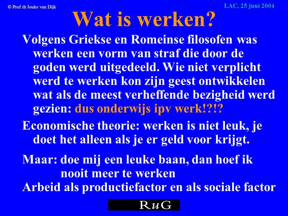 © Prof.dr Jouke van Dijk LAC, 25 juni 2004 Wat is werken.