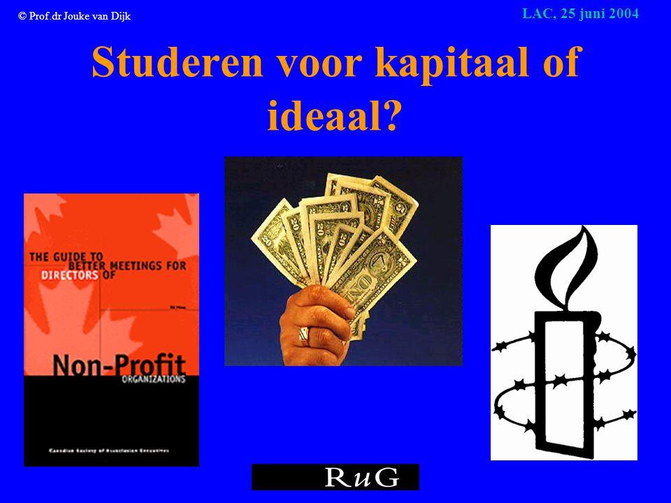 © Prof.dr Jouke van Dijk LAC, 25 juni 2004 Studeren voor kapitaal of ideaal?