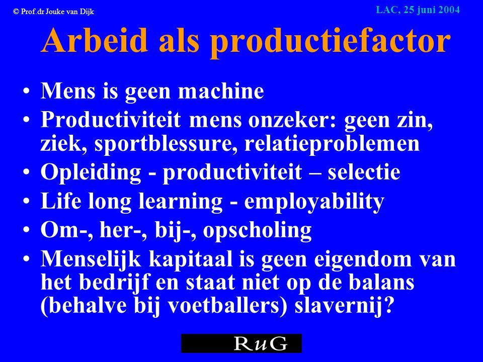 © Prof.dr Jouke van Dijk LAC, 25 juni 2004 Studeren voor kapitaal of ideaal