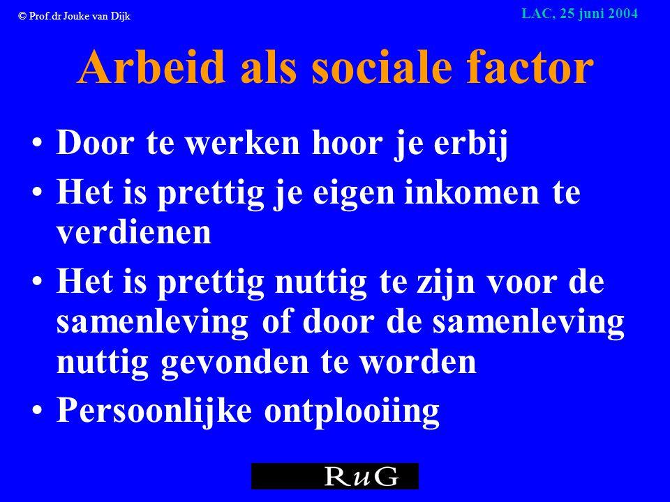 © Prof.dr Jouke van Dijk LAC, 25 juni 2004 Arbeid als sociale factor •Door te werken hoor je erbij •Het is prettig je eigen inkomen te verdienen •Het is prettig nuttig te zijn voor de samenleving of door de samenleving nuttig gevonden te worden •Persoonlijke ontplooiing