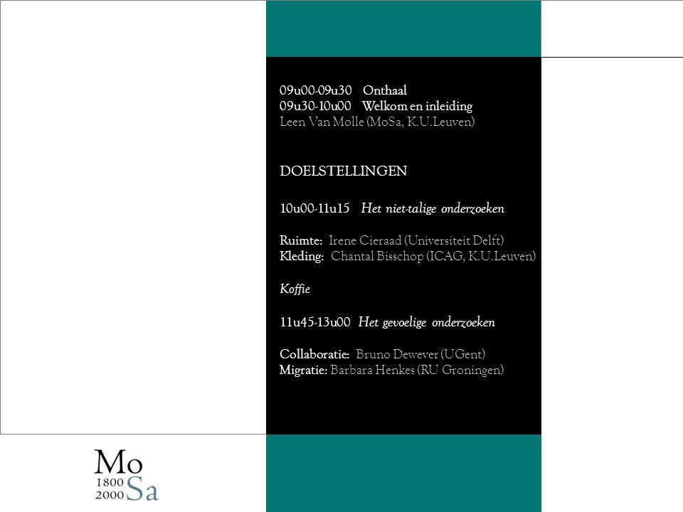 09u00-09u30 Onthaal 09u30-10u00 Welkom en inleiding Leen Van Molle (MoSa, K.U.Leuven) DOELSTELLINGEN 10u00-11u15 Het niet-talige onderzoeken Ruimte: Irene Cieraad (Universiteit Delft) Kleding: Chantal Bisschop (ICAG, K.U.Leuven) Koffie 11u45-13u00 Het gevoelige onderzoeken Collaboratie: Bruno Dewever (UGent) Migratie: Barbara Henkes (RU Groningen)