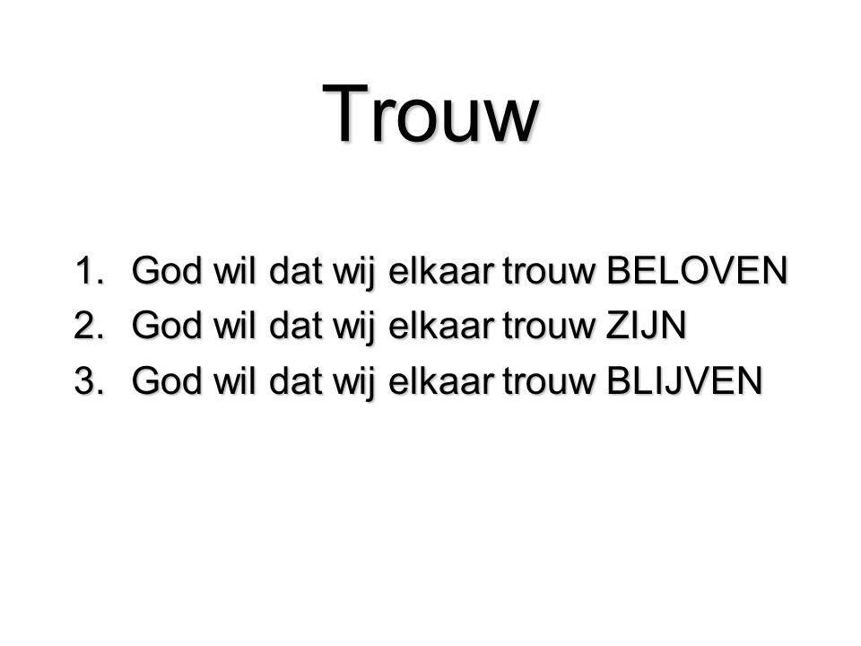 Trouw 1.God wil dat wij elkaar trouw BELOVEN 2.God wil dat wij elkaar trouw ZIJN 3.God wil dat wij elkaar trouw BLIJVEN