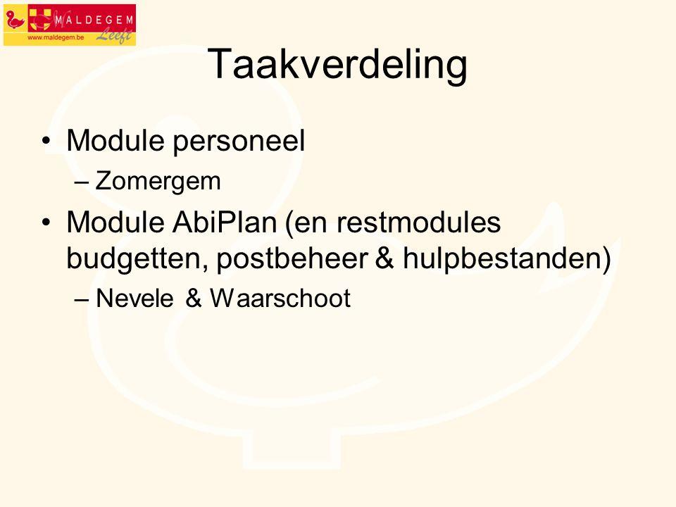Taakverdeling •Module personeel –Zomergem •Module AbiPlan (en restmodules budgetten, postbeheer & hulpbestanden) –Nevele & Waarschoot