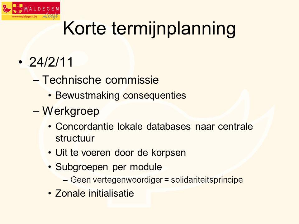 Korte termijnplanning •24/2/11 –Technische commissie •Bewustmaking consequenties –Werkgroep •Concordantie lokale databases naar centrale structuur •Uit te voeren door de korpsen •Subgroepen per module –Geen vertegenwoordiger = solidariteitsprincipe •Zonale initialisatie