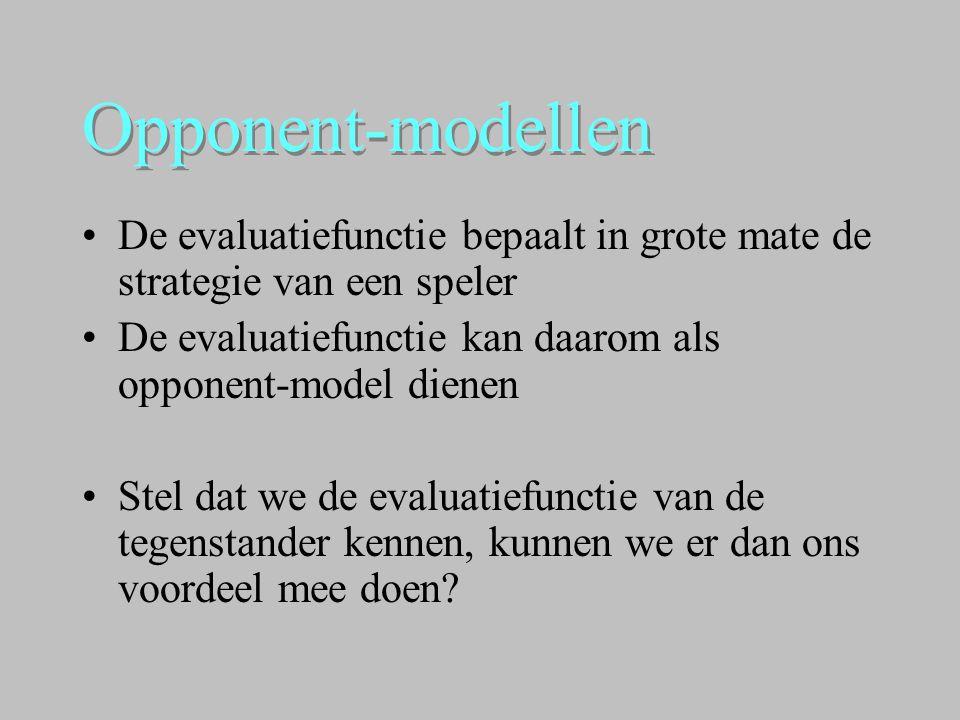 Opponent-modellen •De evaluatiefunctie bepaalt in grote mate de strategie van een speler •De evaluatiefunctie kan daarom als opponent-model dienen •St