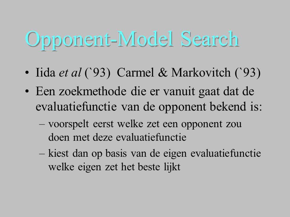 Opponent-Model Search •Iida et al (`93) Carmel & Markovitch (`93) •Een zoekmethode die er vanuit gaat dat de evaluatiefunctie van de opponent bekend i