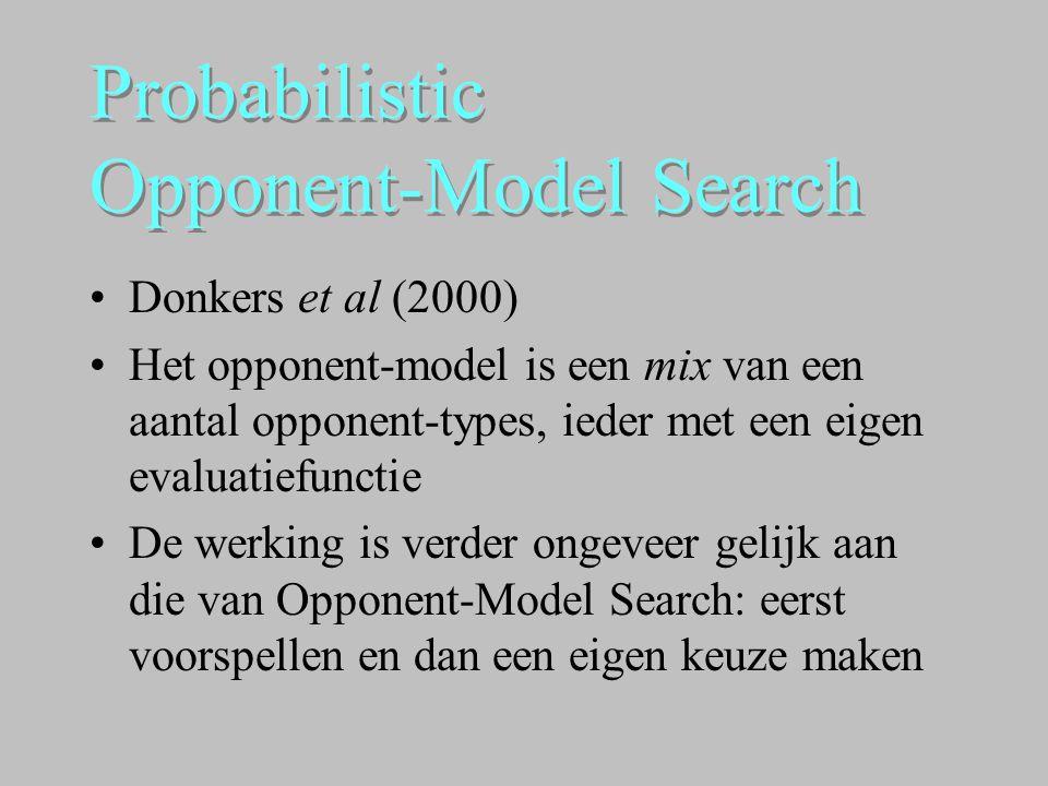 Probabilistic Opponent-Model Search •Donkers et al (2000) •Het opponent-model is een mix van een aantal opponent-types, ieder met een eigen evaluatief