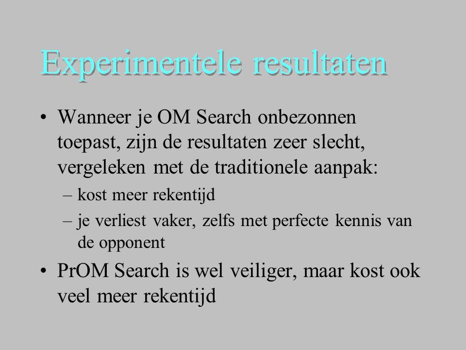 Experimentele resultaten •Wanneer je OM Search onbezonnen toepast, zijn de resultaten zeer slecht, vergeleken met de traditionele aanpak: –kost meer r
