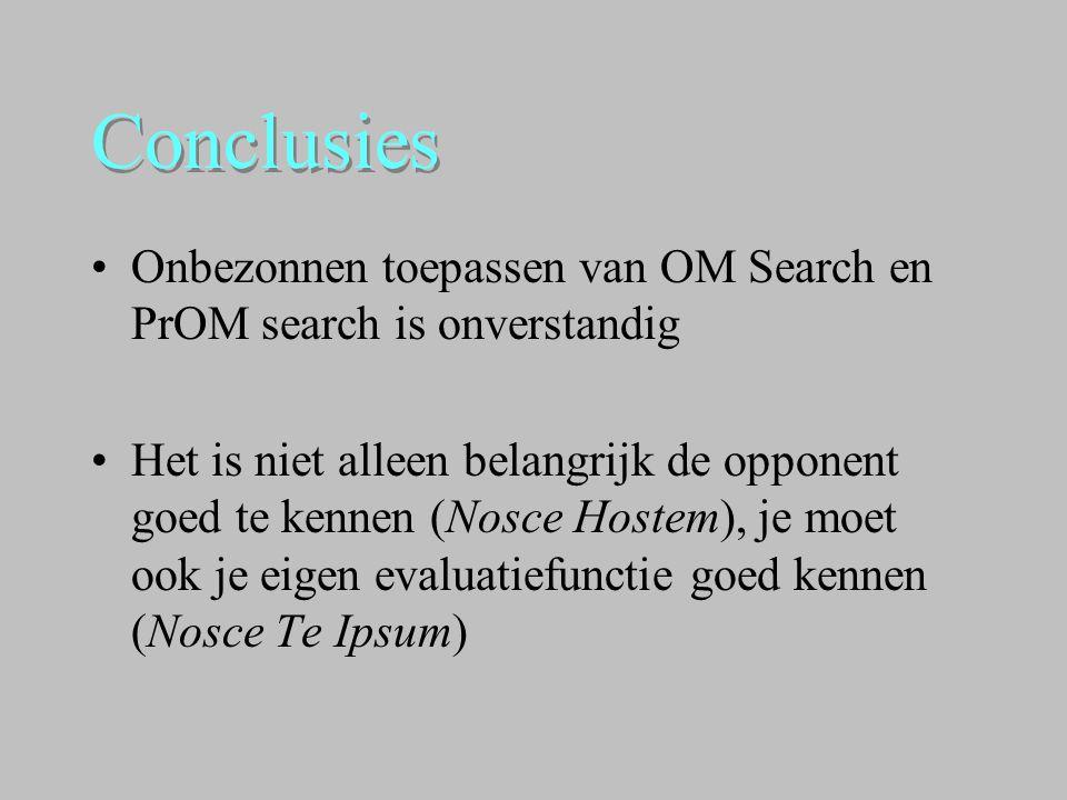 Conclusies •Onbezonnen toepassen van OM Search en PrOM search is onverstandig •Het is niet alleen belangrijk de opponent goed te kennen (Nosce Hostem)