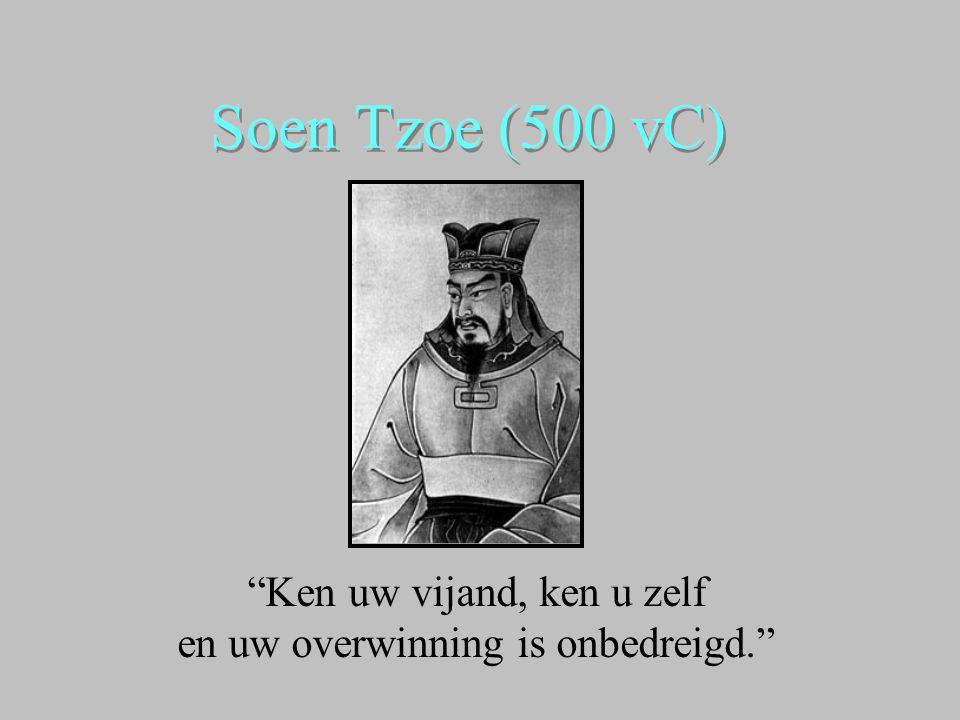 """Soen Tzoe (500 vC) """"Ken uw vijand, ken u zelf en uw overwinning is onbedreigd."""""""