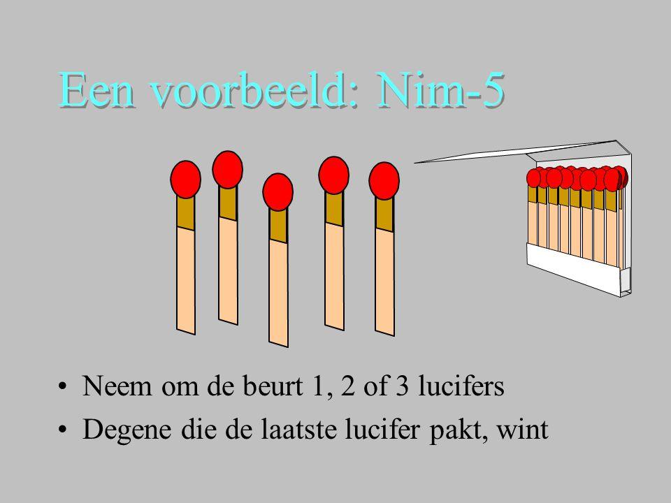 Een voorbeeld: Nim-5 •Neem om de beurt 1, 2 of 3 lucifers •Degene die de laatste lucifer pakt, wint