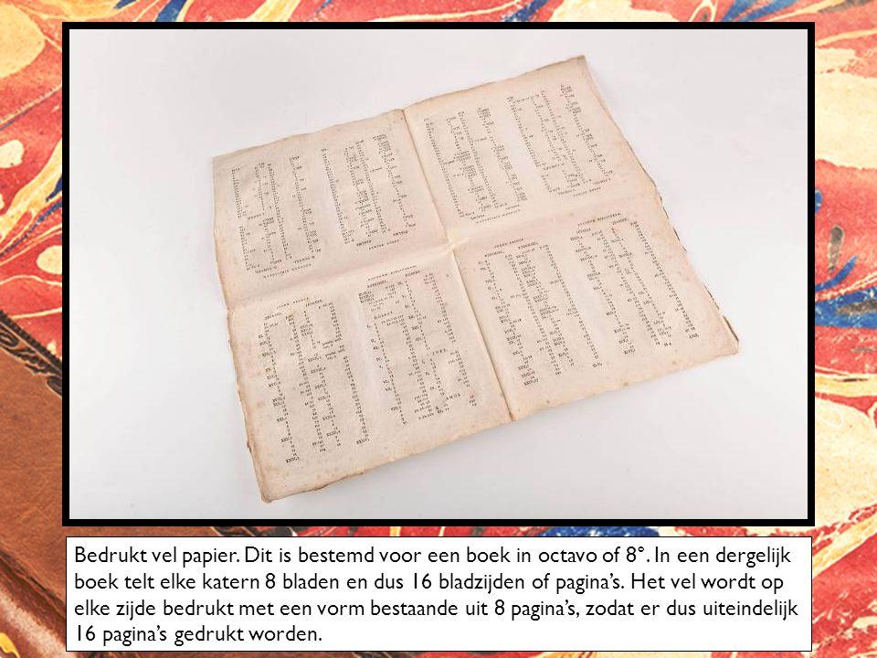 Bedrukt vel papier. Dit is bestemd voor een boek in octavo of 8°. In een dergelijk boek telt elke katern 8 bladen en dus 16 bladzijden of pagina's. He