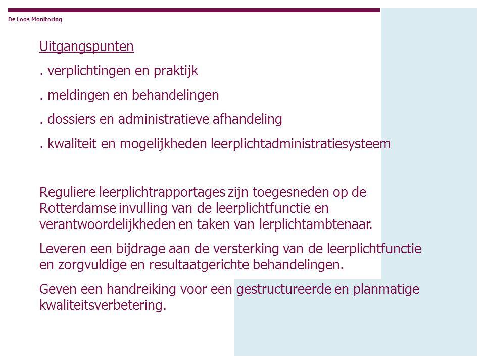 Uitgangspunten. verplichtingen en praktijk. meldingen en behandelingen. dossiers en administratieve afhandeling. kwaliteit en mogelijkheden leerplicht