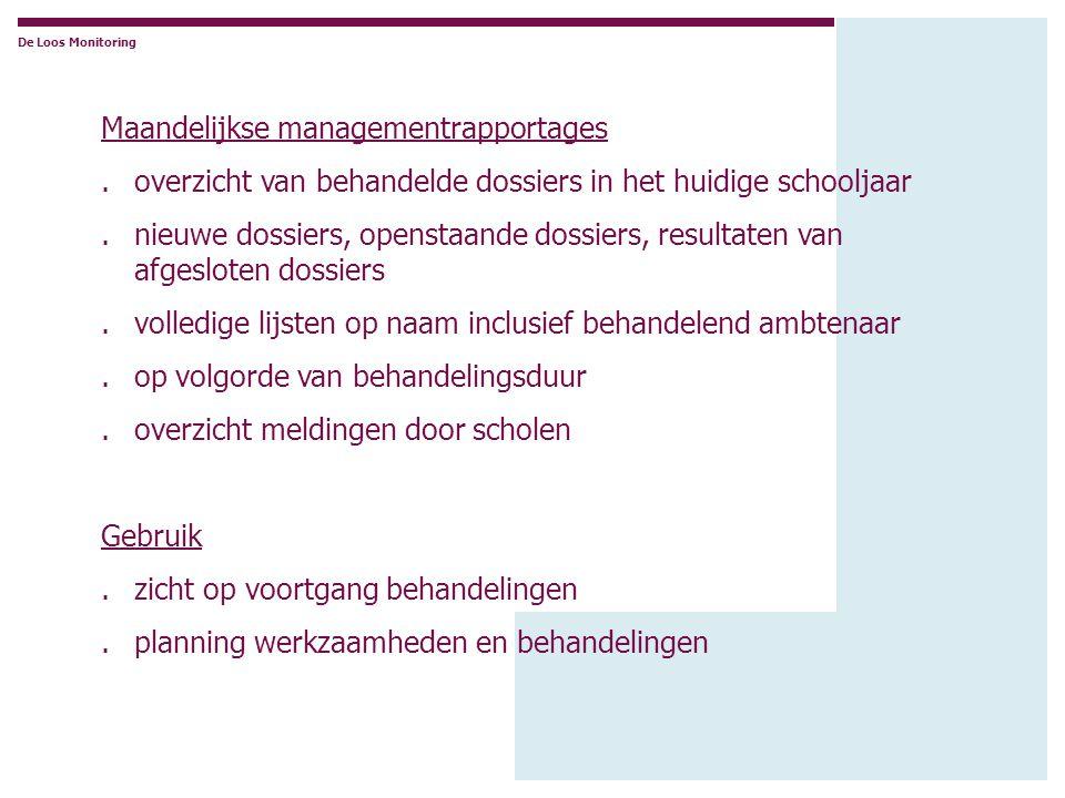 Maandelijkse managementrapportages.overzicht van behandelde dossiers in het huidige schooljaar.nieuwe dossiers, openstaande dossiers, resultaten van a