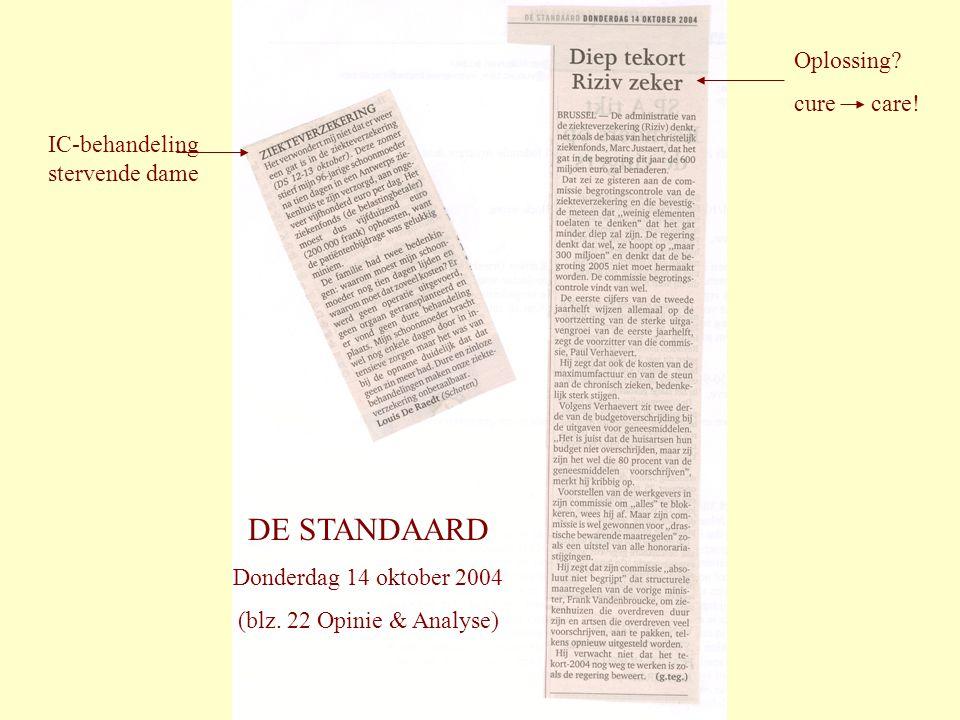 DE STANDAARD Donderdag 14 oktober 2004 (blz. 22 Opinie & Analyse) IC-behandeling stervende dame Oplossing? cure care!