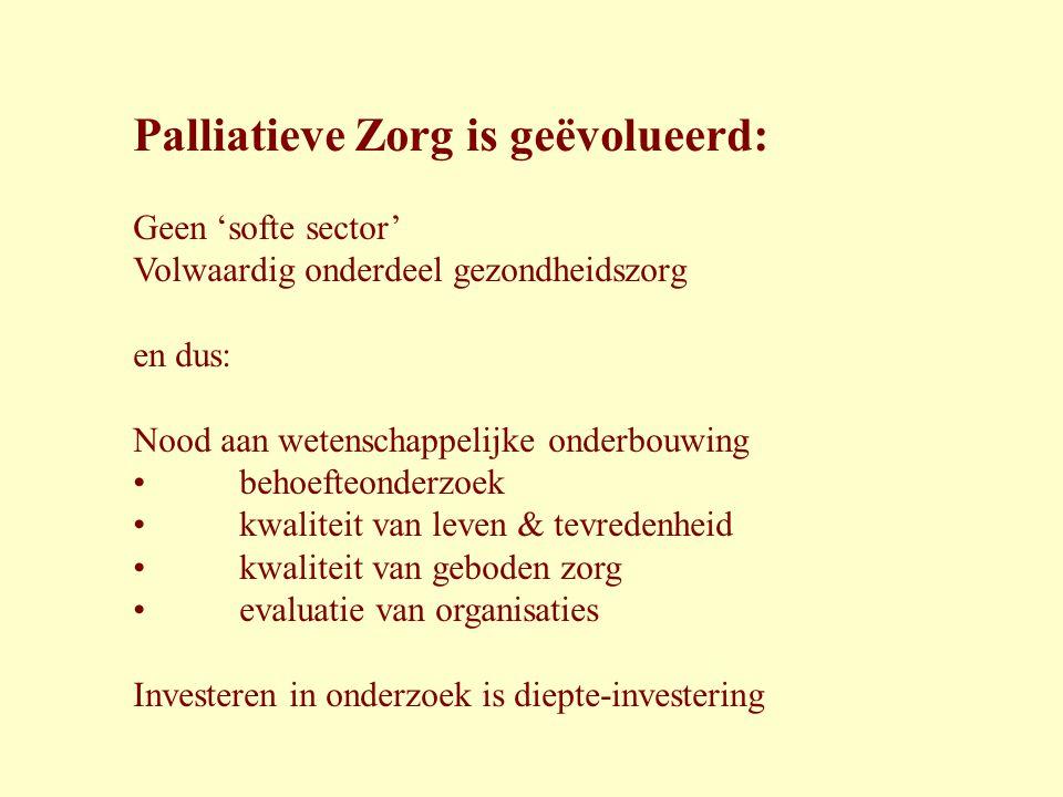 Palliatieve Zorg is geëvolueerd: Geen 'softe sector' Volwaardig onderdeel gezondheidszorg en dus: Nood aan wetenschappelijke onderbouwing • behoefteon