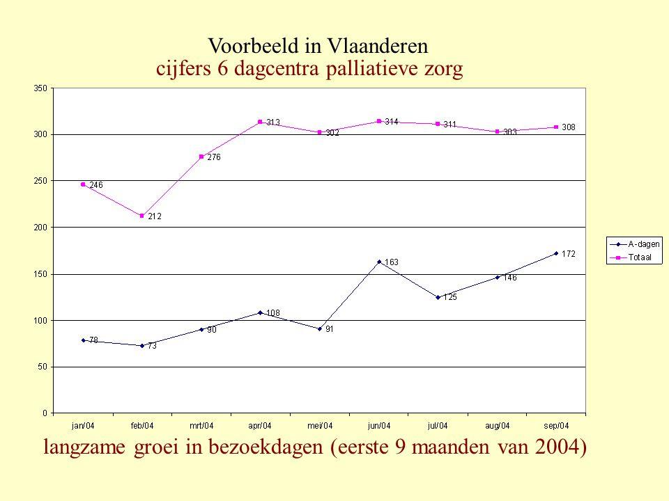 langzame groei in bezoekdagen (eerste 9 maanden van 2004) cijfers 6 dagcentra palliatieve zorg Voorbeeld in Vlaanderen