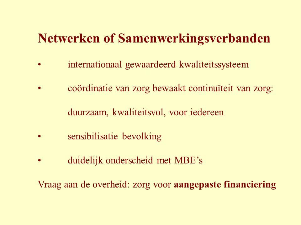 Netwerken of Samenwerkingsverbanden • internationaal gewaardeerd kwaliteitssysteem • coördinatie van zorg bewaakt continuïteit van zorg: duurzaam, kwa