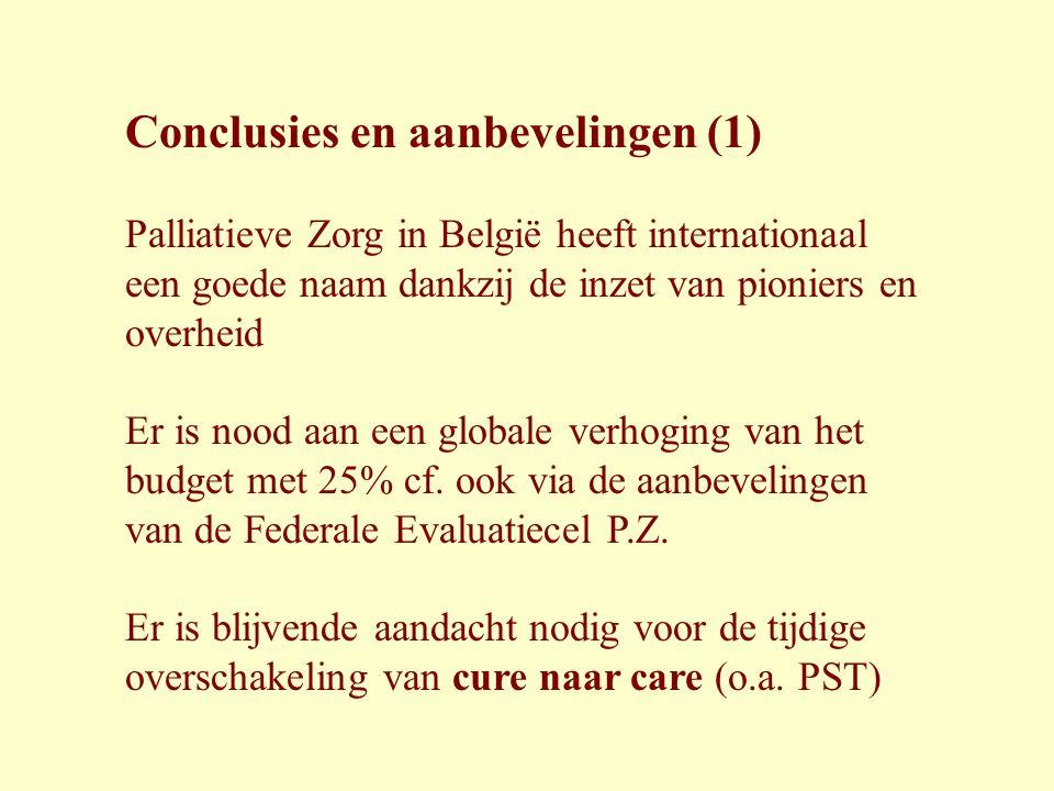Conclusies en aanbevelingen (1) Palliatieve Zorg in België heeft internationaal een goede naam dankzij de inzet van pioniers en overheid Er is nood aa