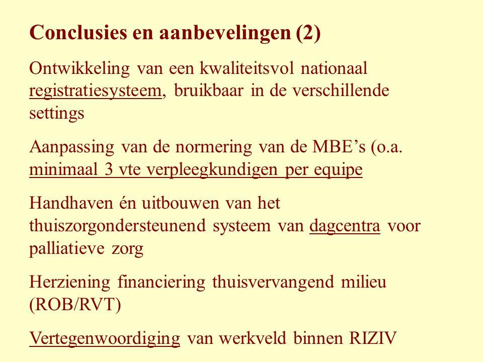 Conclusies en aanbevelingen (2) Ontwikkeling van een kwaliteitsvol nationaal registratiesysteem, bruikbaar in de verschillende settings Aanpassing van