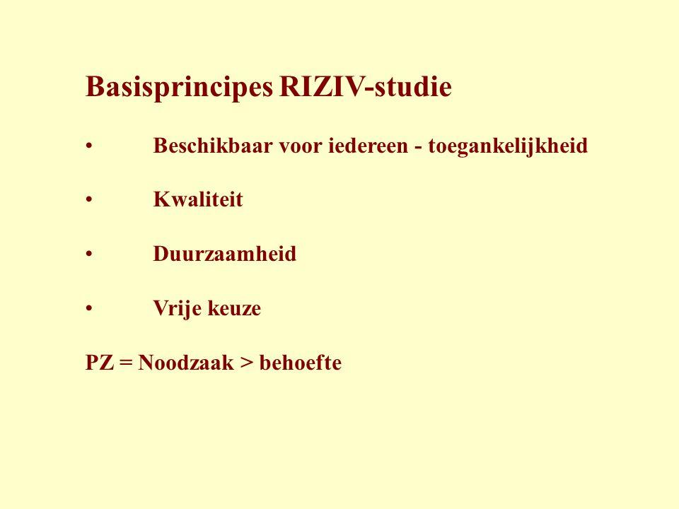 Basisprincipes RIZIV-studie • Beschikbaar voor iedereen - toegankelijkheid • Kwaliteit • Duurzaamheid • Vrije keuze PZ = Noodzaak > behoefte